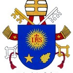 Papal coat of arms features motto by English doctor of Church