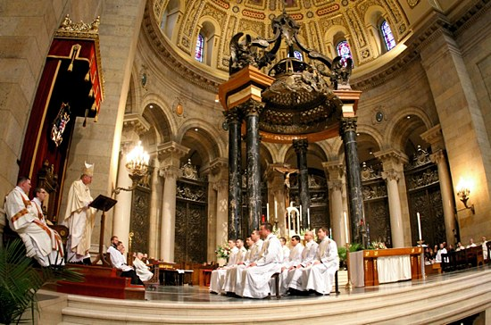 Archbishop John Nienstedt addresss the men during his homily. (Dave Hrbacek / The Catholic Spirit)