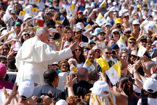 Pope Francis waves as he arrives to celebrate Mass in Campobasso, Italy, July 5. CNS photo/Giampiero Sposito, Reuters