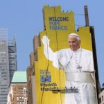 Mural of pope looks out over New York's Madison Square Garden Mass site