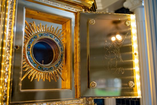 The new tabernacle for the perpetual adoration chapel at the Baltimore Basilica also serves as a monstrance to display the Blessed Sacrament.